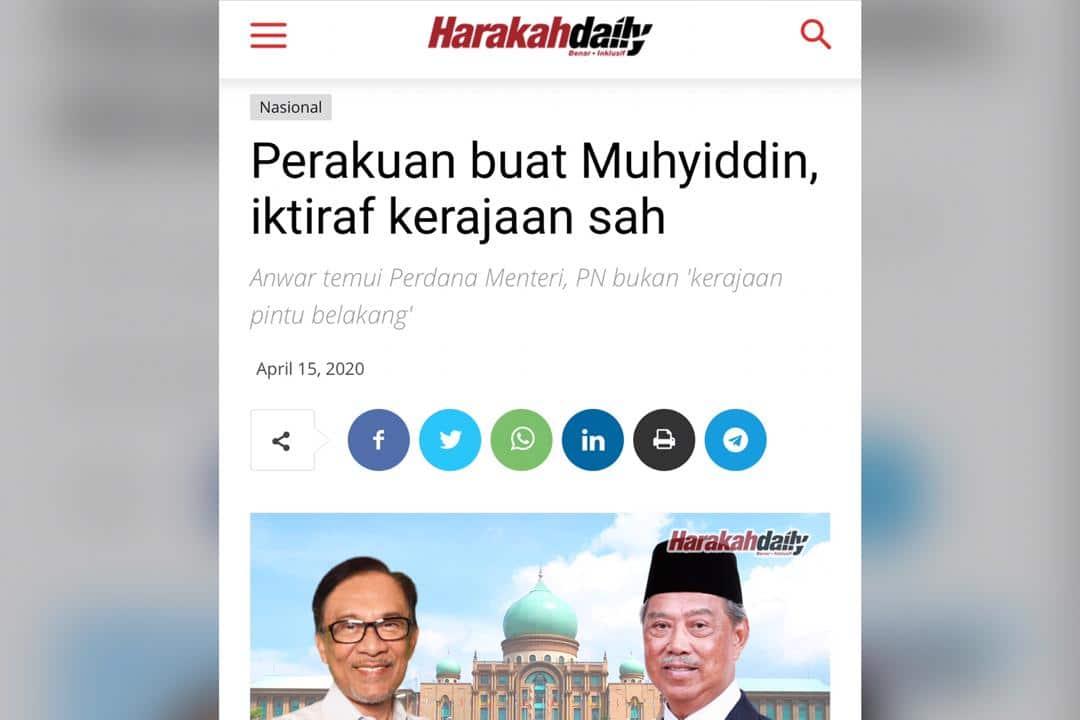 Harakah dakwa pertemuan Anwar-Muhyiddin bukti pengiktirafan Anwar