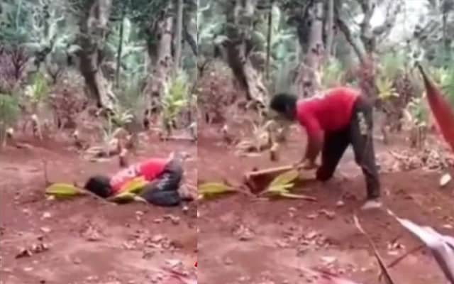 [Video] Tak tahan rasa rindu, lelaki ini gali semula kubur isteri