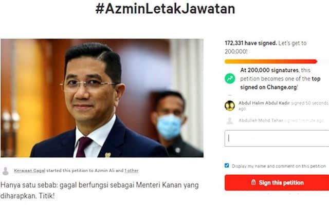 Terus naik !!! Petisyen online desak Azmin letak jawatan kini menghampiri 200,000 sokongan