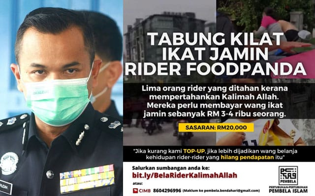 Kantoi !!! Kutipan derma ikat jamin food riders kena tahan, Polis kata mana ada ikat jamin dikenakan….
